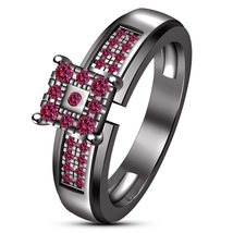 Pink Sapphire 18K Black Gold Plated Solid 925 Silver Engagement Wedding ... - $78.98