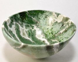 "2.9"" Green White Agate Bowl Colorful Mineral Handcarved Crystal Stone Cu... - $31.95"