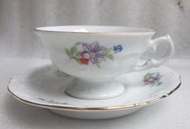 Demitasse Cup Saucer! Coffee Walbrzych Porcelain Poland Mini Tea Set Violet! - $9.89