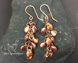 Handmade copper earrings: chainlink waterfall of iridescent glass pip beads - $22.00