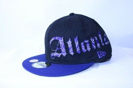 New Era Atlanta Braves Fitted Hat Hip Hop Graffiti Spellout 59Fifty Blac... - $35.46