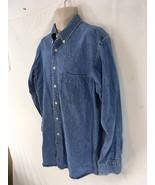 J Crew Mens L Blue Hiking Camp Farmer Trucker Medium Weight Denim Shirt - $29.70
