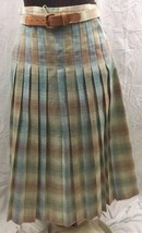 Vintage Glen of Michigan Skirt Womens 10 Pastel Plaid Wool Pleated Schoo... - $24.74