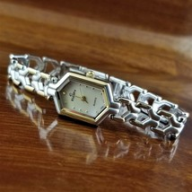 New Women's ELGIN Hexagon Beveled Crystal Gold & Silver Wishbone Link Watch - $69.95