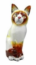 "Balinese Wood Handicrafts Adorable White Feline Cat Purr Pet Figurine 8""H - $26.99"