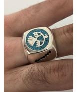 Vintage Southwestern Turquoise Silver American Thunderbird 12.25 Size Ring - $34.65