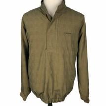 FootJoy 1/2 Zip Snap Golf Pullover Jacket Medium Gold Green Glen Plaid Rain - $39.50