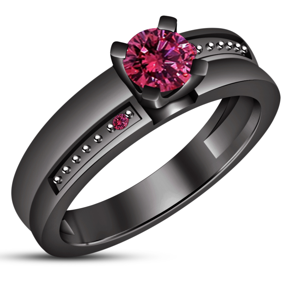 14k Black Gold Plated 925 Silver Round Cut Pink Sapphire Ladies Engagement Ring