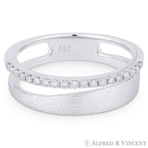 0.16ct Diamond Right-Hand Stackable Fashion Ring in 14k White Gold Brush... - $725.99