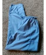 Women's size XS scrub pants light blue color tie elastic waist side pock... - $12.16