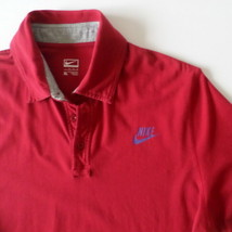 Nike Performance Men's Polo Shirt XL Red with Blue Nike Chest Logo - $12.13