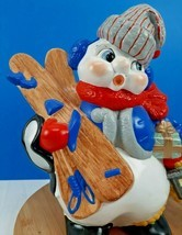 "Vintage Ceramic Snowman Figure Holding Ski Presents Lantern 13"" Atlantic... - $32.99 CAD"