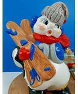 "Vintage Ceramic Snowman Figure Holding Ski Presents Lantern 13"" Atlantic... - $25.72"