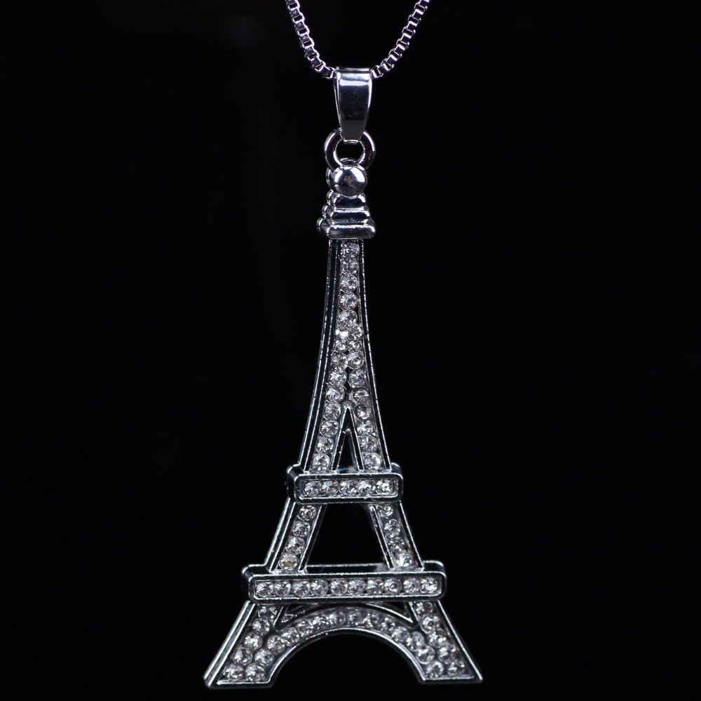 Chain 2017 New Colorful Crystal Eiffel Tower Building necklace Lock Pendant Allo image 5