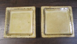 Pottery Barn Harvest Honey Glazed Candle Tray Set of two ceramic square ... - $26.32