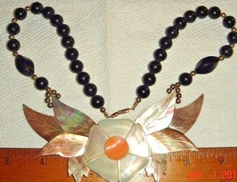 VTG INLAY MOTHER OF PEARL ABALONE FLORAL FLOWER BLACK ONYX NECKLACE EARR... - $267.99
