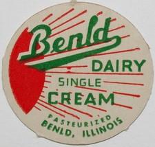 Vintage milk bottle cap BENLD DAIRY Single Cream Bend Illinois new old s... - $9.99
