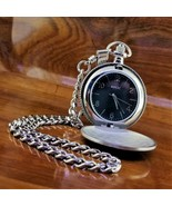 New RELIC by Fossil Stainless Steel Black Embossed Dial Pocket Watch & C... - $59.95