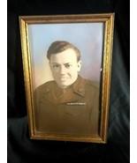 "Antique Photograph-US Soldier In Uniform Bubble Glass Wood Frame 17.25"" ... - $49.49"