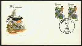 Wisconsin-Robin & Wood Violet, HF-Sealed Flap **ANY 4=FREE SHIPPING** - $1.00