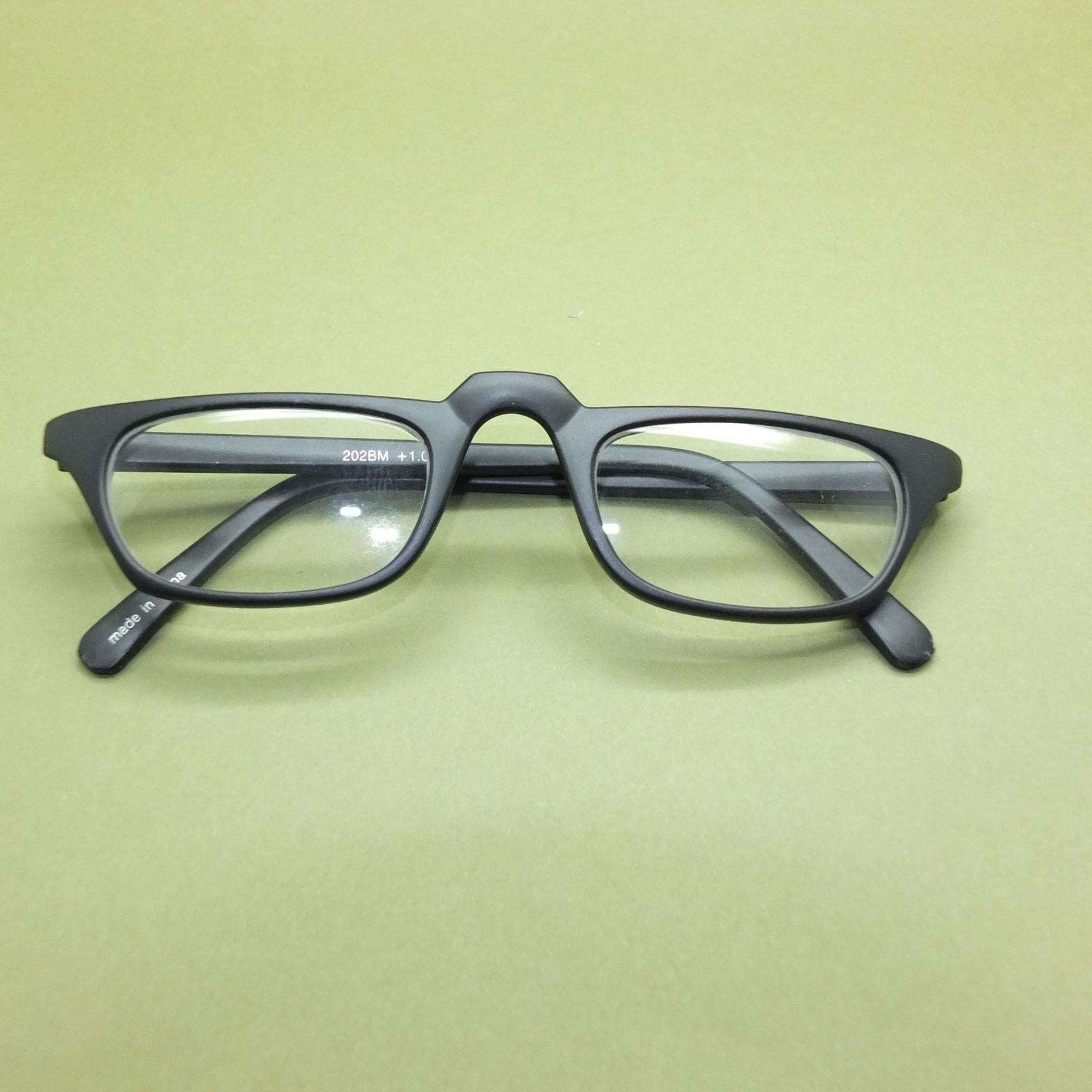 Half Eye +2.50 Reading Glasses Unisex Matte Black Polished Acrylic Wide Frame