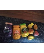 Vintage Lot Of 3 kraft Jelly Jars + 5 realistic little fruit  Magnets - $10.29