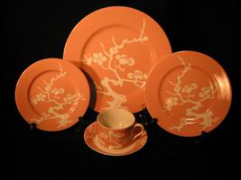 Fitz Floyd PRUNIER DE CHINE Peach Porcelain Dinnerware 5 pc Place Settin... - $98.99