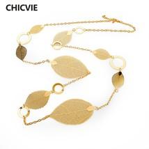 Gold Color Statement Leaf Pendant Necklace Women Maxi Vintage Long Chain... - $260,35 MXN