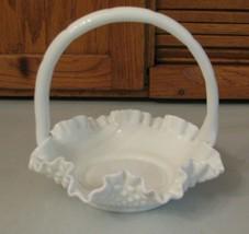 Vintage Fenton Hobnail Milk Glass Ruffled Handle Basket - $15.83