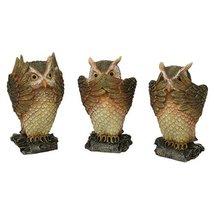 See, Hear, Speak No Evil Brown Owl Shelf Sitter Computer Top Sitters - $23.99