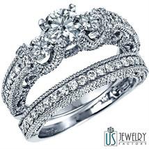 100% Natural Round Diamond Engagement Ring Bridal Set 14K 1.87ct (0.50) ... - £3,420.96 GBP