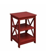 Red End Table X Style Lower Display Shelves Chairside Side Table Living ... - $84.64