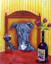 GREYHOUND dog wine prints 8x10  artist art PRINT animals impressionism new - $18.95