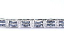Fine Gem Blue Sapphire & Diamond White Gold Milgrain Tennis Bracelet 7.2... - $3,514.50