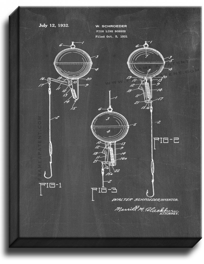 Primary image for Fish Line Bobber Patent Print Chalkboard on Canvas