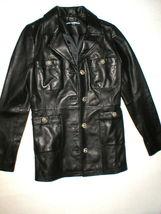 New Womens S Soft Karl Lagerfeld Paris Leather Jacket Black Silver Designer Lamb image 7