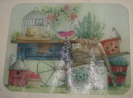 Vtg Spring Gardening Birds Diane Knott Rectangular Tempered Glass Cuttin... - $18.81