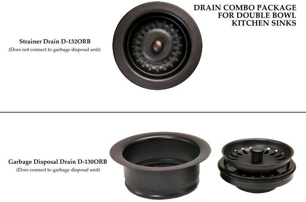Kitchen Drain Assembly 3.5 in. Double Bowl Solid Brass Oil Rubbed Bronze Brown image 3