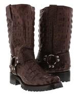 Mens Brown Biker Crocodile Back Western Cowboy Boots Motorcycle Harness ... - £146.61 GBP