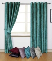 CRUSHED VELVET TEAL ANNEAU TOP CURTAINS 8 SIZES - $64.98+