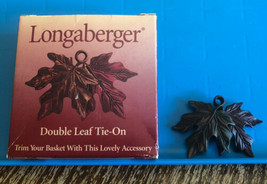 Longaberger Double Leaf Metal Tie-On Fall Autumn Retired #73393 with Box 2000 - $17.99