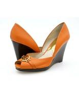 Michael Kors Womens 6.5 M Orange Leather Peep Toe Dorsay High Wedge Pump... - $29.99