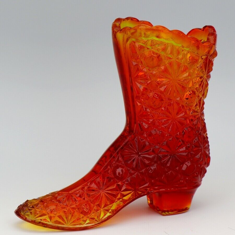 Vintage Fenton Art Glass OR Orange Amberina Daisy & Button Victorian Boot