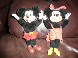 SET OF 2 VINTAGE MICKEY & MOUSE APPLAUSE FIGURINES WITH PLASTIC FEET FAC... - $29.69