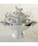 Sterling Silver Plated Caviar Server with 6 Vodka Glasses - 6 replacemen... - $12.63