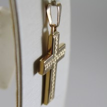 Yellow Gold Cross Pendant 750 18k, Square, finely worked, Made in Italy image 2