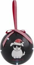 Naughty or Nice Ornament Ball Dog Santa Hat Black Blinking Lights Christ... - $14.84