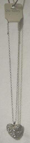 Chic Gallery Silver Colored Heart Clear Crystals 18 Inch Rolo Chain Necklace