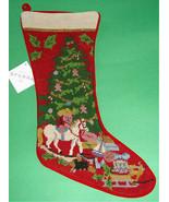 Sferra Wool Needlepoint Stocking Christmas Toys Handmade New  - $79.90
