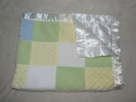 Just One Year Yellow Green Blue Plush Blocks Square Satin Baby Boy Blanket Minky - $37.61